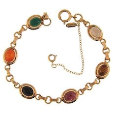 Vintage signed Sarah Coventry gold filled petite semi precious stone Egyptian scarab Bracelet