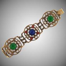 Vintage wide link Bracelet with glass cabochons