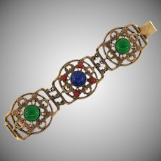Vintage wide link Bracelet with glass cabochons