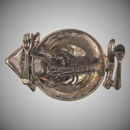 Marked Sterling GFMW unique figural Brooch of a lobster dinner