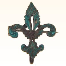 Marked Sterling silver early fleur de lis Watch Pin with turquoise colored enamel