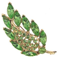 Signed Weiss beautiful leaf shaped Brooch with green rhinestones