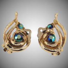 Vintage clip back 1960's earrings with AB blue rhinestones