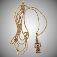 Early 9kt  gold small taille de epergne pendant on gold filled chain