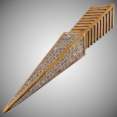 Signed Panetta long arrow shaped Brooch with crystal pave set rhinestones