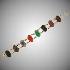 1/20 12kt gold filled link Bracelet with semi precious scarab stones