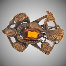 Vintage Egyptian Revival Brooch with amber glass stone