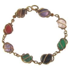 Vintage marked 1/20 12 kt gold filled link Bracelet with caged semi precious stones