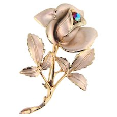 Signed Florenza floral Brooch with  red AB rhinestone