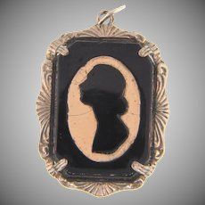 Early celluloid silhouette cameo pendant
