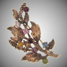 Marked Sterling silver vermeil branch Brooch with multicolored rhinestones