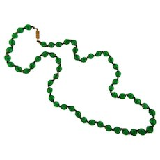 Vintage Venetian green glass bead Necklace with white adventurine swirls within the beads