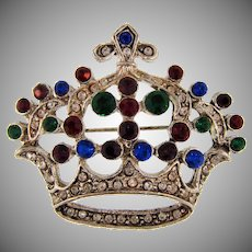 Vintage large crown Brooch with rhinestones