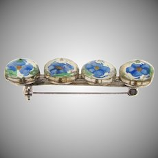Vintage Bar Pin with glass encased flowers