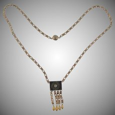 Vintage floral chain pendant Necklace with imitation pearl dangles