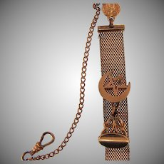 Vintage gold filled mesh complete Watch Chain with moon and star slide and fob