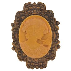 Vintage ornate Etruscan style frame Brooch with celluloid cameo