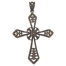 Vintage 925 sterling silver Cross Pendant with marcasites