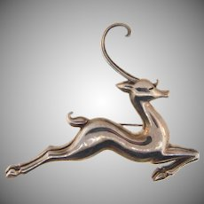 Signed MMA 925 USA sterling large leaping deer Brooch