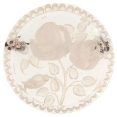 Vintage reverse carved Lucite Brooch with white roses