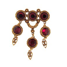 Vintage dangling Brooch with red rhinestones