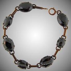 Vintage gold filled link Bracelet with Hematite stones