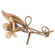 Signed Carl-Art 1/20 12kt gold filled flower Watch Pin