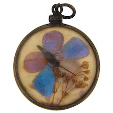 Early marked sterling silver frame Pendant with encased butterflies