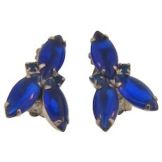 Vintage clip back Earrings with dark blue poured glass rhinestones