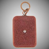 Vintage gold stone Pendant/ Fob with small crystal rhinestone