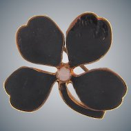 Small early clover Scatter pin with black enamel and tiny opaque glass bead