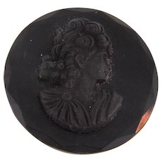 Vintage black glass circular cameo Brooch