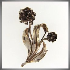 Signed Sterling by Lang double flower Brooch
