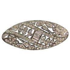 Art Deco pot metal crystal rhinestone Brooch