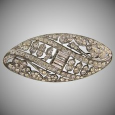 Art Deco pot metal crystal rhinestone Brooch
