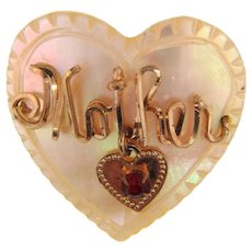 Vintage Mother small Brooch with dangling heart on a MOP heart
