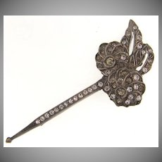 Vintage Art Deco pot metal Brooch/Hat Pin with crystal rhinestones