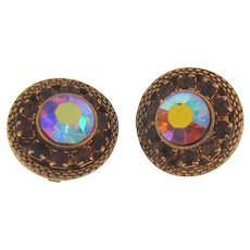 Vintage 1960's circular antiqued gold tone rhinestone clip back Earrings in topaz and AB hues