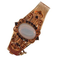 Vintage bangle Bracelet with side clasp and rhinestones and large opaque cabochon