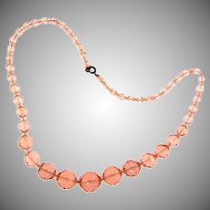 Vintage faceted graduated pink crystal glass bead Necklace.