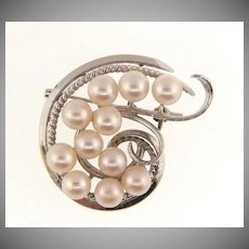Marked silver abstract Brooch with 11 genuine pearls