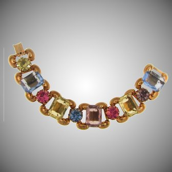Vintage chunky link Bracelet with large multicolored rhinestones