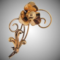 Signed Barclay gold filled vintage floral brooch