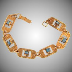 Vintage Egyptian Revival link Bracelet with mottled blue glass beads