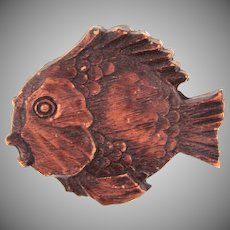 Vintage early carved wooden fish Brooch