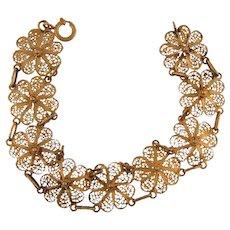 Vintage floral link filigree Bracelet with gold tone wash