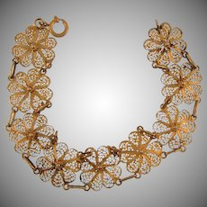 Vintage floral link filigree Bracelet with gold tone wash