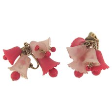 Signed Star clip back Earrings with early plastic bells