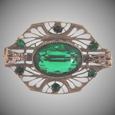 Vintage early silver tone Brooch with emerald green glass stones