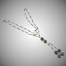 Vintage early link chain Necklace with black glass bead dangles